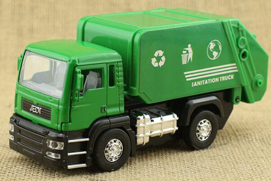 Green Toy Truck : Scale kids green diecast garbage dump truck toy