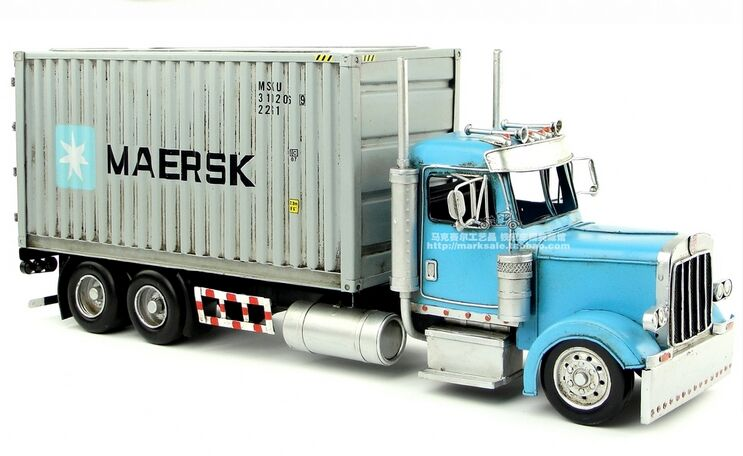 Blue Large Scale Vintage Tinplate U S Container Truck Model