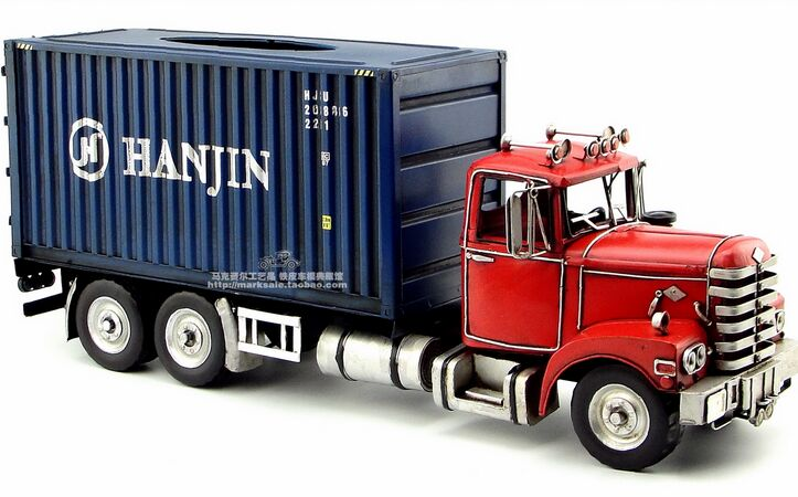Large Scale Tinplate Handmade Blue Red Container Truck Model