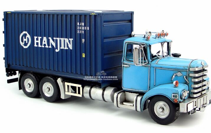 Large Scale Tinplate Handmade Blue / Red Container Truck