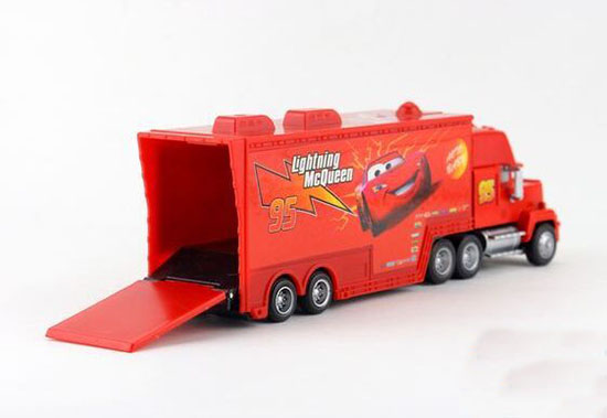 kids red cars 2 diecast mack container truck toy