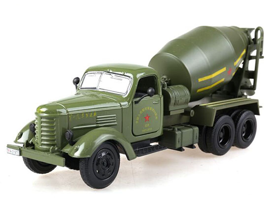 Mixer Truck Toy : Army green silver kids diecast concrete mixer truck