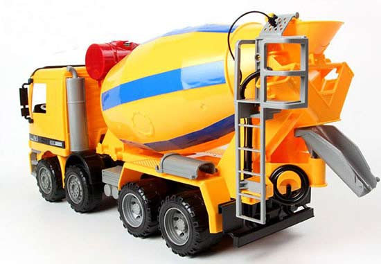 Mixer Truck Toy : Kids yellow large scale plastic concrete mixer truck toy
